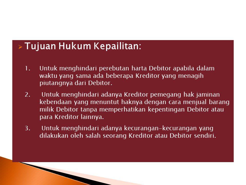 Tujuan Hukum Kepailitan: