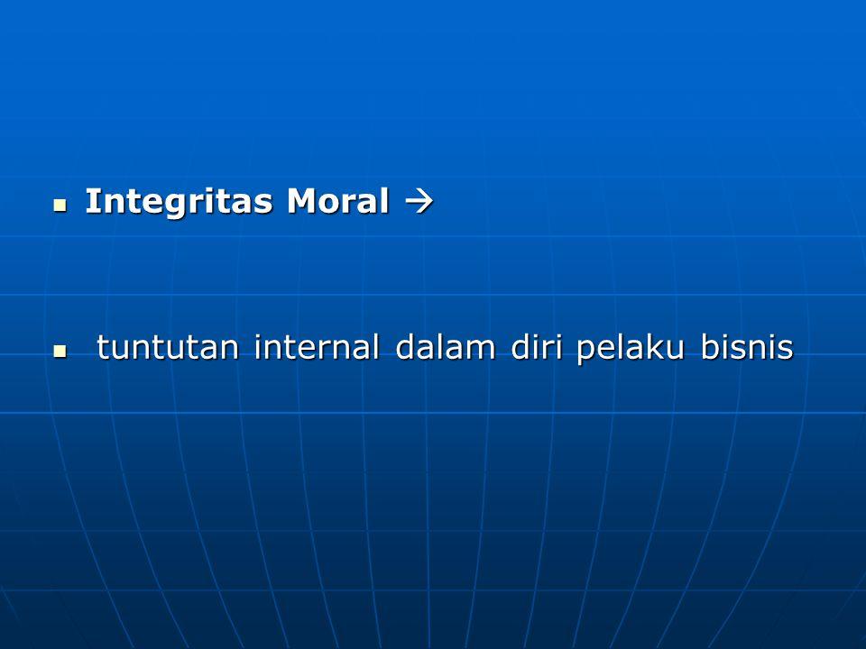 Integritas Moral  tuntutan internal dalam diri pelaku bisnis