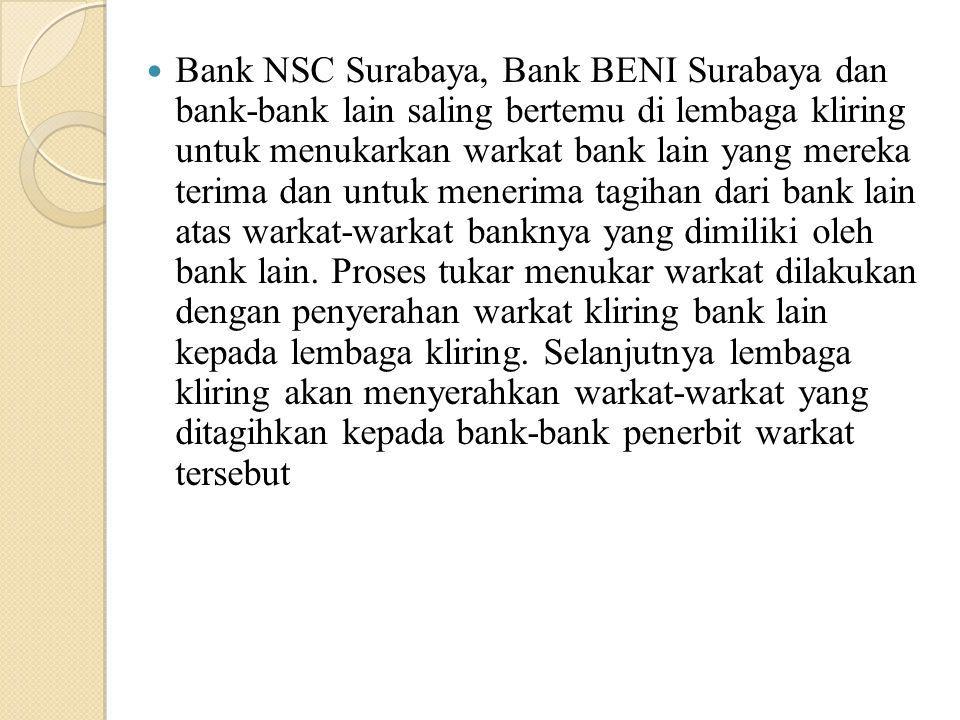 Bank NSC Surabaya, Bank BENI Surabaya dan bank-bank lain saling bertemu di lembaga kliring untuk menukarkan warkat bank lain yang mereka terima dan untuk menerima tagihan dari bank lain atas warkat-warkat banknya yang dimiliki oleh bank lain.