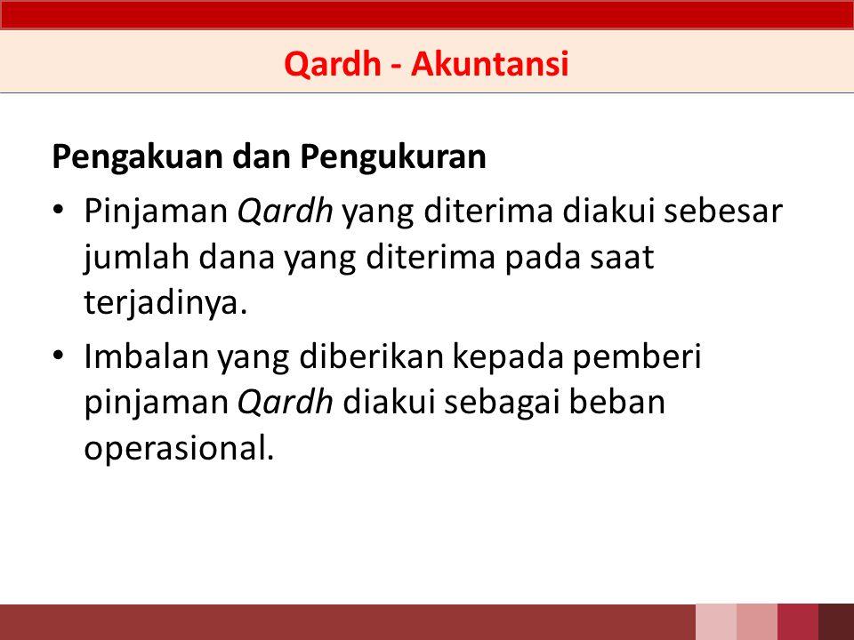 Qardh - Akuntansi Pengakuan dan Pengukuran. Pinjaman Qardh yang diterima diakui sebesar jumlah dana yang diterima pada saat terjadinya.