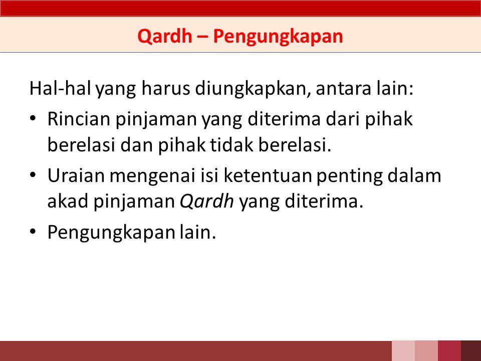 Qardh – Pengungkapan Hal-hal yang harus diungkapkan, antara lain: Rincian pinjaman yang diterima dari pihak berelasi dan pihak tidak berelasi.