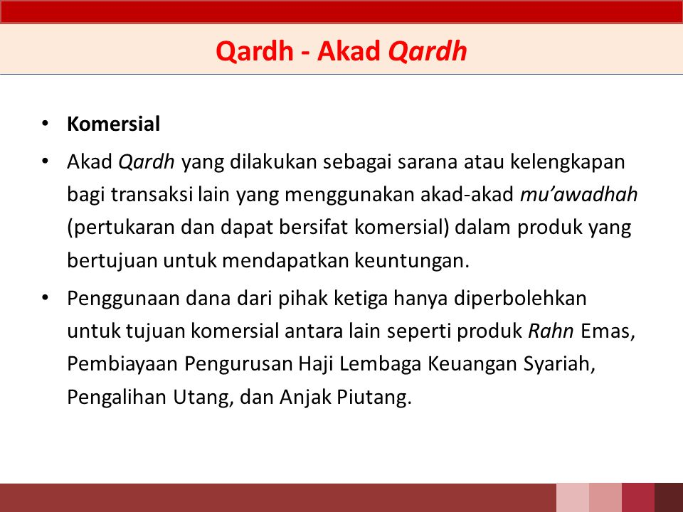 Qardh - Akad Qardh Komersial