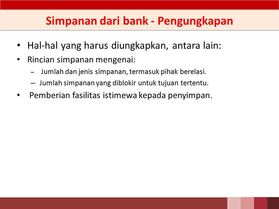 Simpanan dari bank - Pengungkapan