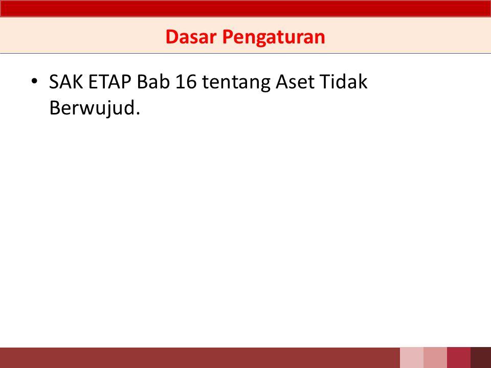 Dasar Pengaturan SAK ETAP Bab 16 tentang Aset Tidak Berwujud.