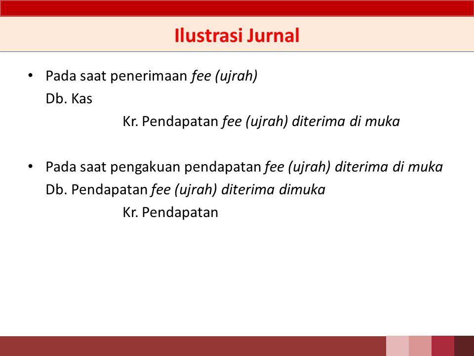 Ilustrasi Jurnal Pada saat penerimaan fee (ujrah) Db. Kas