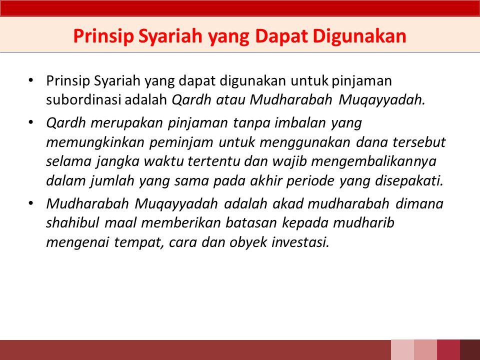 Prinsip Syariah yang Dapat Digunakan