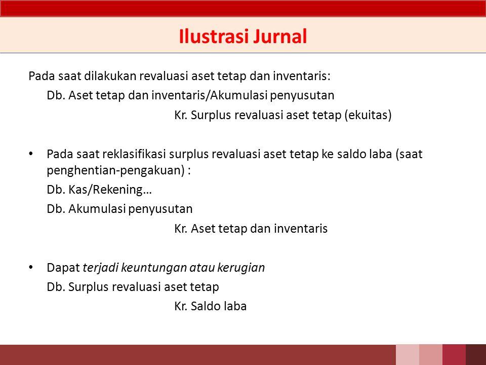 Ilustrasi Jurnal Pada saat dilakukan revaluasi aset tetap dan inventaris: Db. Aset tetap dan inventaris/Akumulasi penyusutan.