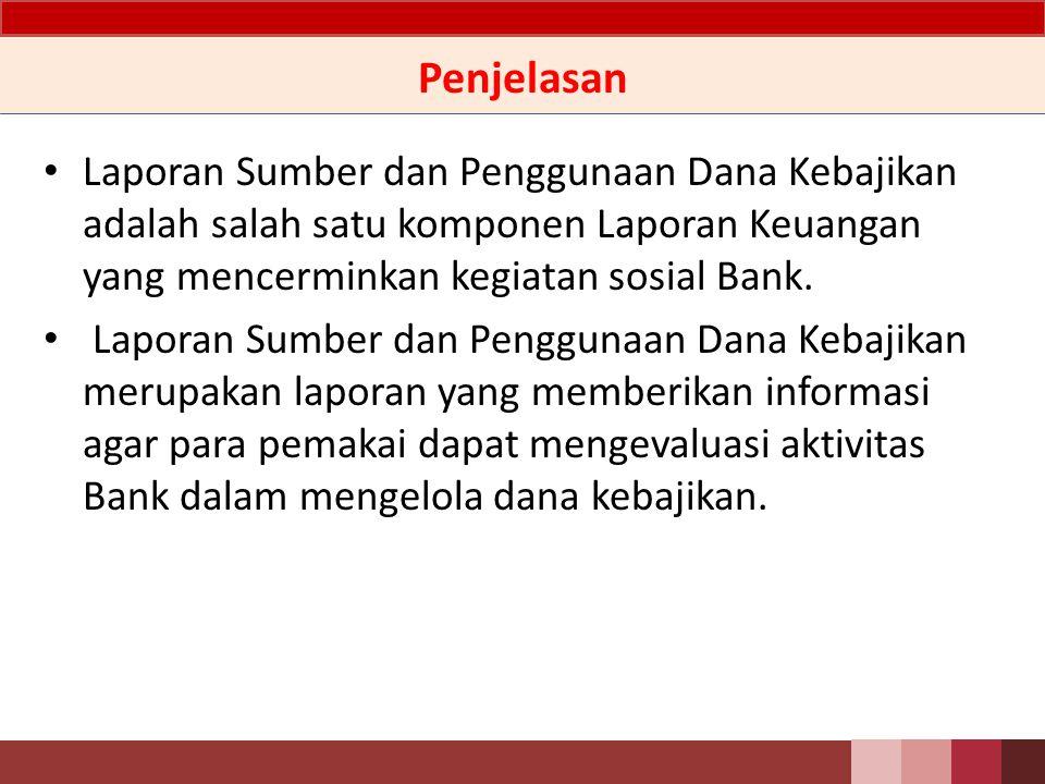 Penjelasan Laporan Sumber dan Penggunaan Dana Kebajikan adalah salah satu komponen Laporan Keuangan yang mencerminkan kegiatan sosial Bank.