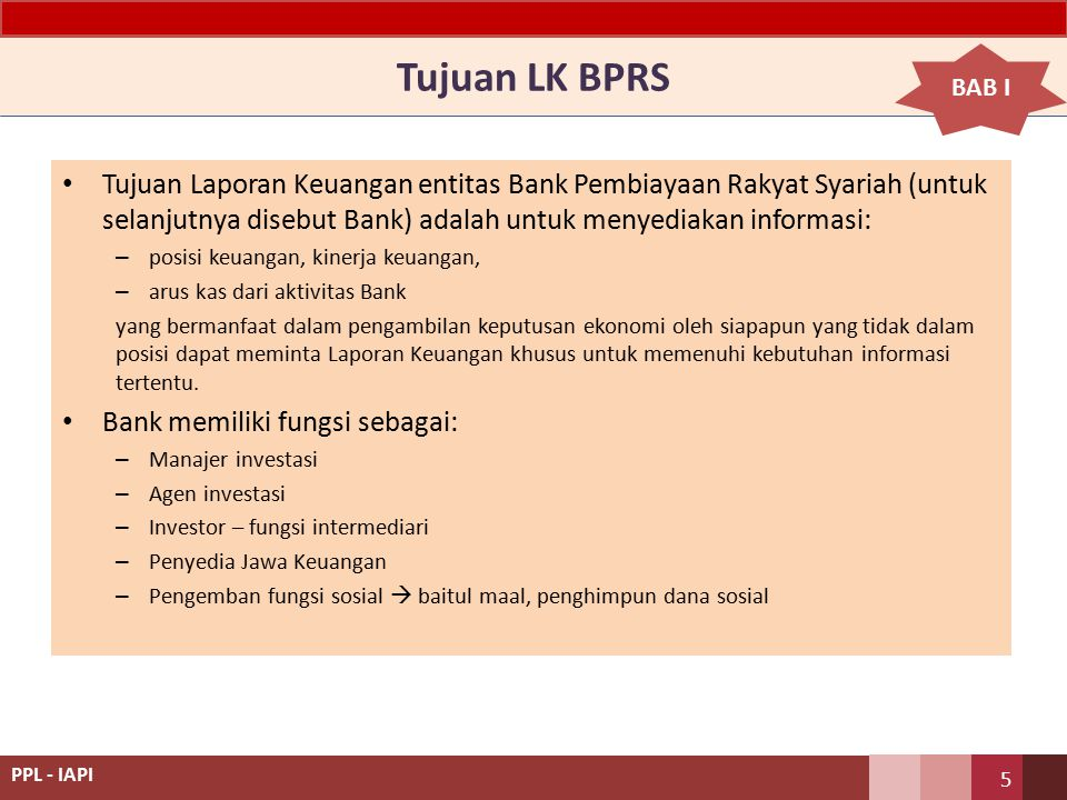 Tujuan LK BPRS BAB I.