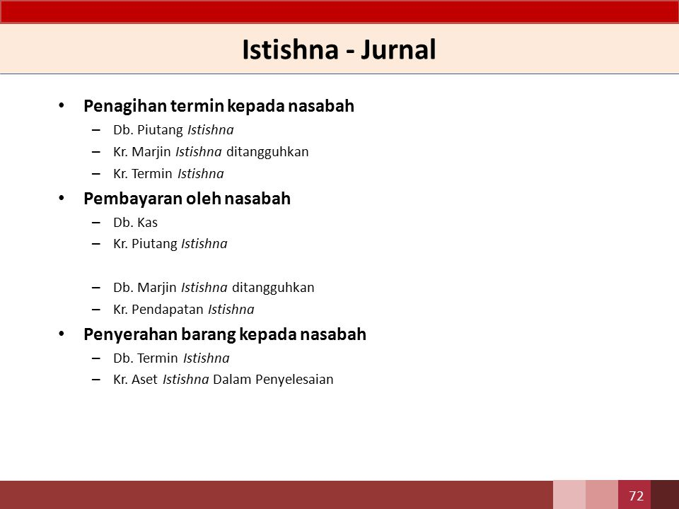Istishna - Jurnal Penagihan termin kepada nasabah
