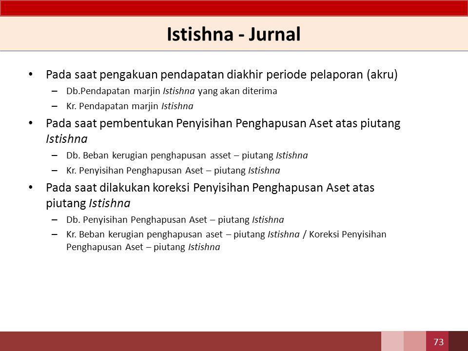 Istishna - Jurnal Pada saat pengakuan pendapatan diakhir periode pelaporan (akru) Db.Pendapatan marjin Istishna yang akan diterima.