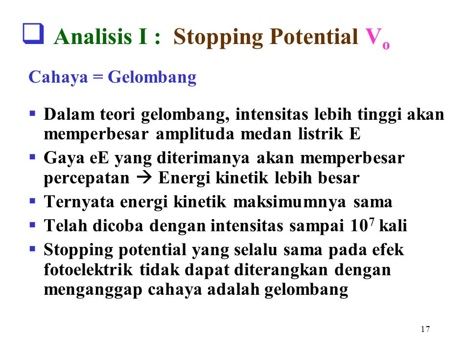 Analisis I : Stopping Potential Vo
