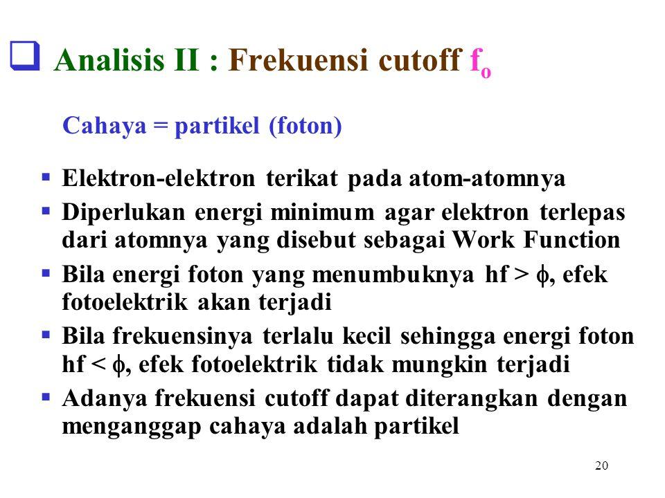 Analisis II : Frekuensi cutoff fo
