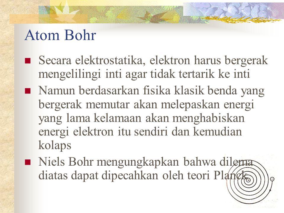 Atom Bohr Secara elektrostatika, elektron harus bergerak mengelilingi inti agar tidak tertarik ke inti.