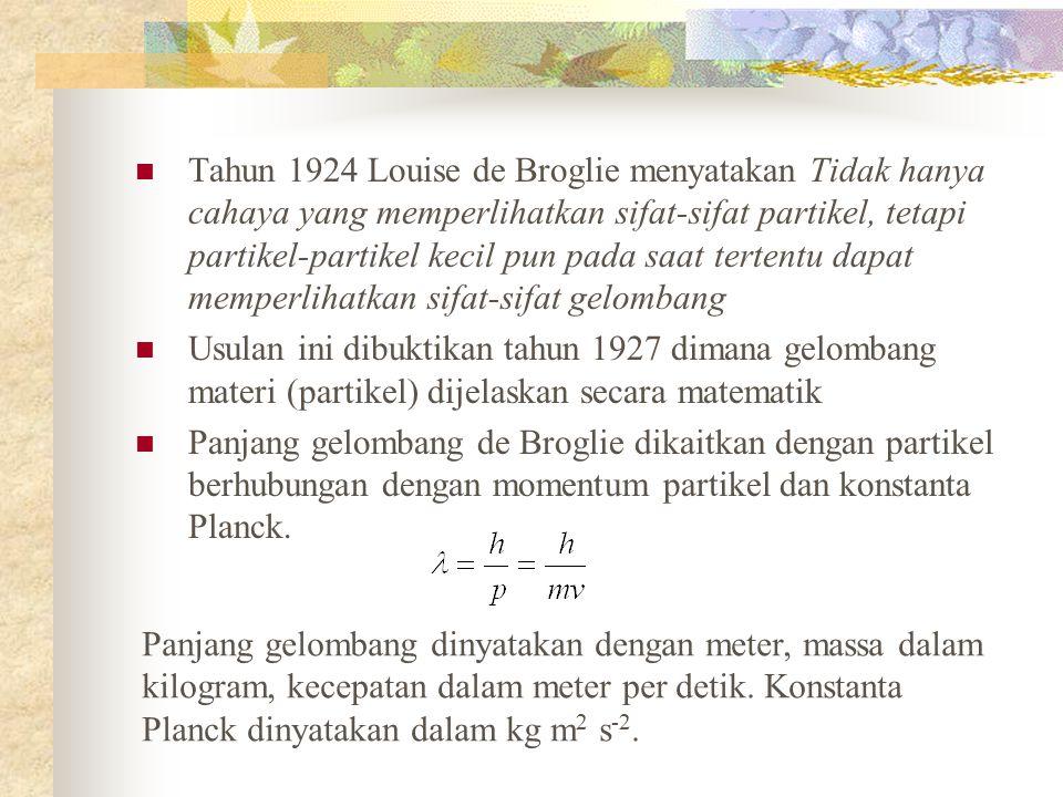 Tahun 1924 Louise de Broglie menyatakan Tidak hanya cahaya yang memperlihatkan sifat-sifat partikel, tetapi partikel-partikel kecil pun pada saat tertentu dapat memperlihatkan sifat-sifat gelombang