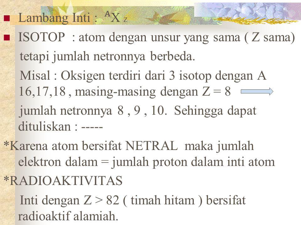 Lambang Inti : ᴬX Z ISOTOP : atom dengan unsur yang sama ( Z sama) tetapi jumlah netronnya berbeda.