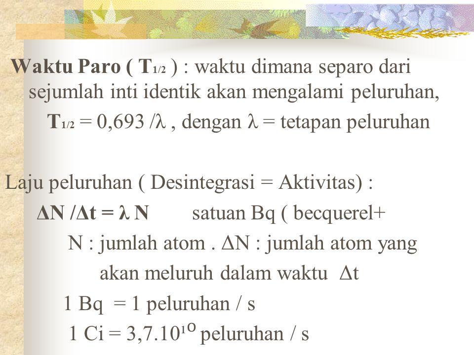 Waktu Paro ( T1/2 ) : waktu dimana separo dari sejumlah inti identik akan mengalami peluruhan,