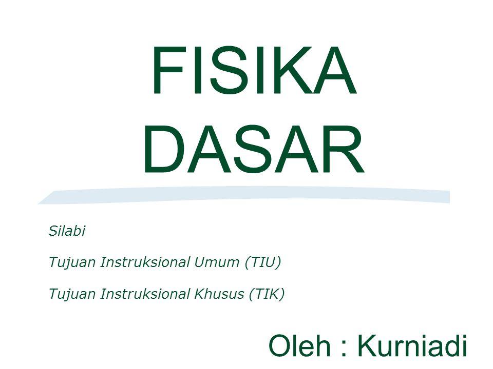 FISIKA DASAR Oleh : Kurniadi Silabi Tujuan Instruksional Umum (TIU)