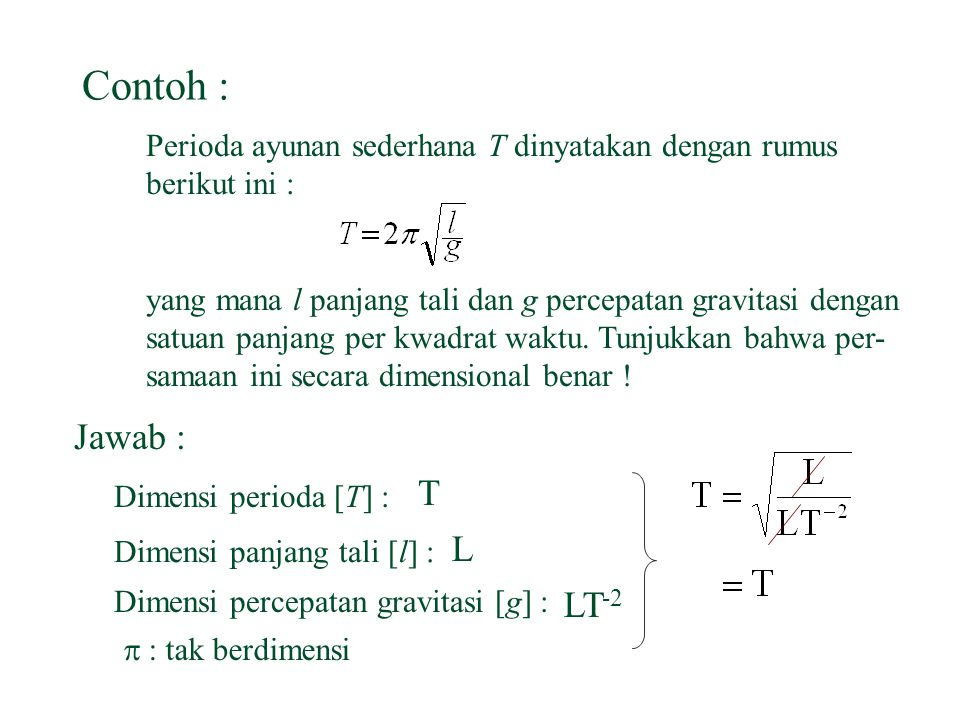 Contoh : Perioda ayunan sederhana T dinyatakan dengan rumus. berikut ini :