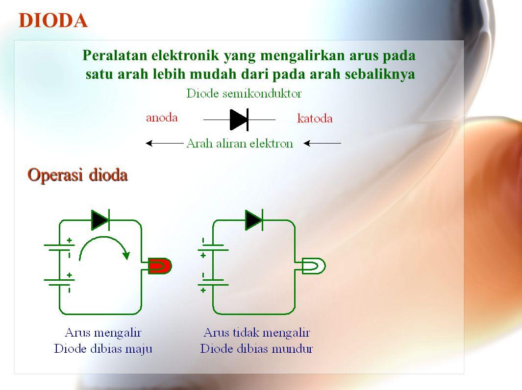 DIODA Peralatan elektronik yang mengalirkan arus pada satu arah lebih mudah dari pada arah sebaliknya.