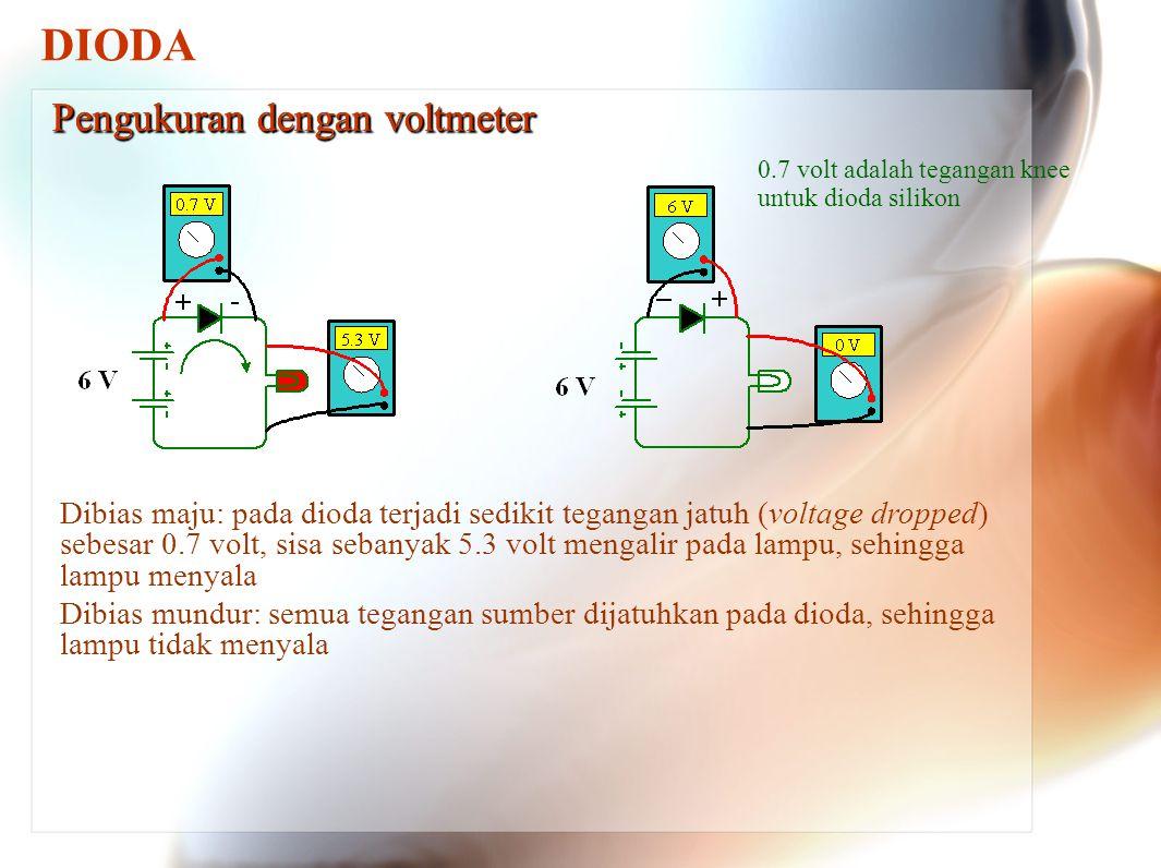 DIODA Pengukuran dengan voltmeter Pengukuran dengan voltmeter