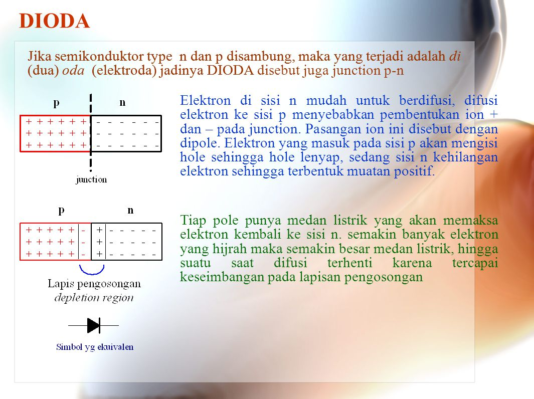 DIODA Jika semikonduktor type n dan p disambung, maka yang terjadi adalah di (dua) oda (elektroda) jadinya DIODA disebut juga junction p-n.
