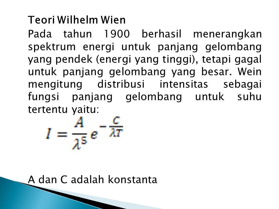 Teori Wilhelm Wien Pada tahun 1900 berhasil menerangkan spektrum energi untuk panjang gelombang yang pendek (energi yang tinggi), tetapi gagal untuk panjang gelombang yang besar.