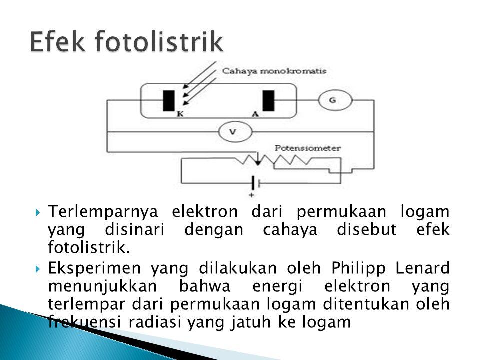 Efek fotolistrik Terlemparnya elektron dari permukaan logam yang disinari dengan cahaya disebut efek fotolistrik.