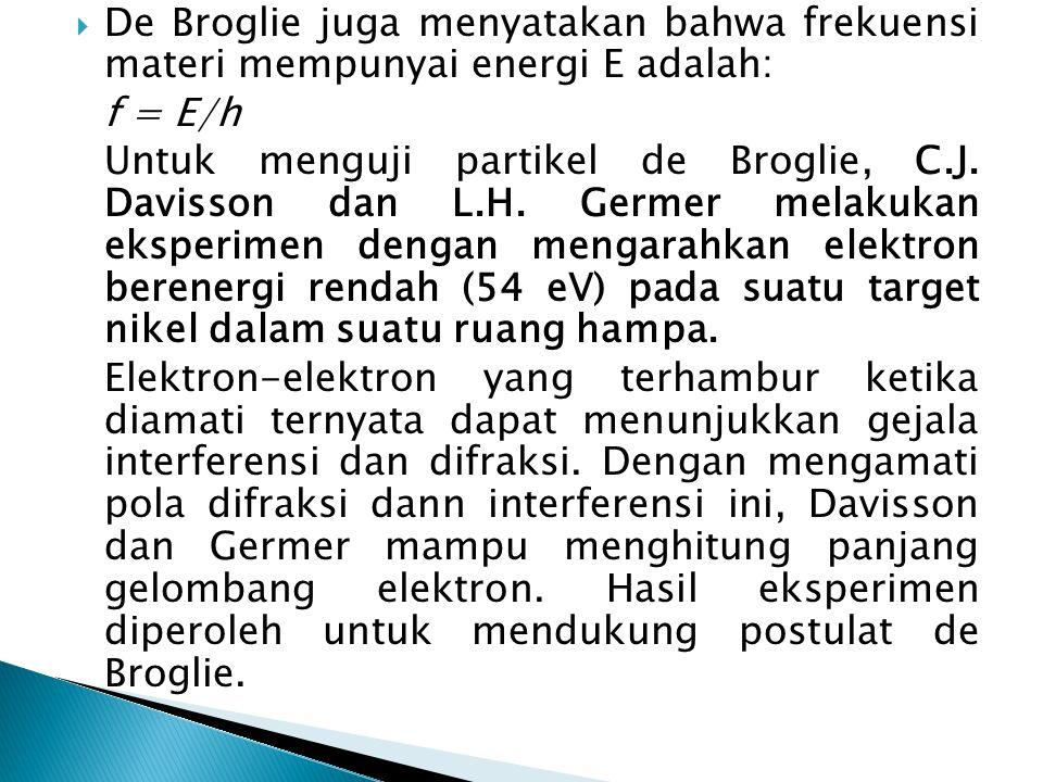 De Broglie juga menyatakan bahwa frekuensi materi mempunyai energi E adalah: