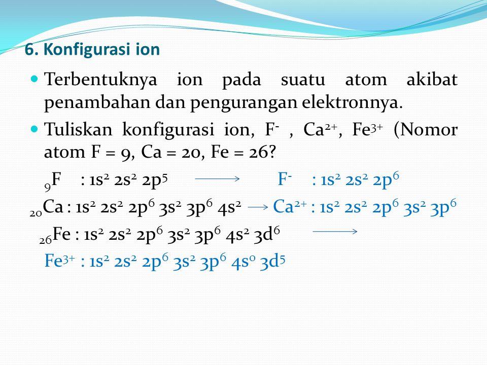 6. Konfigurasi ion Terbentuknya ion pada suatu atom akibat penambahan dan pengurangan elektronnya.