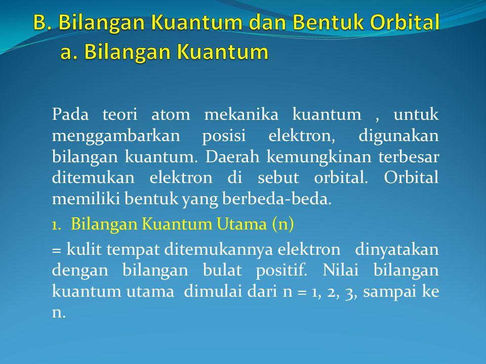 B. Bilangan Kuantum dan Bentuk Orbital a. Bilangan Kuantum