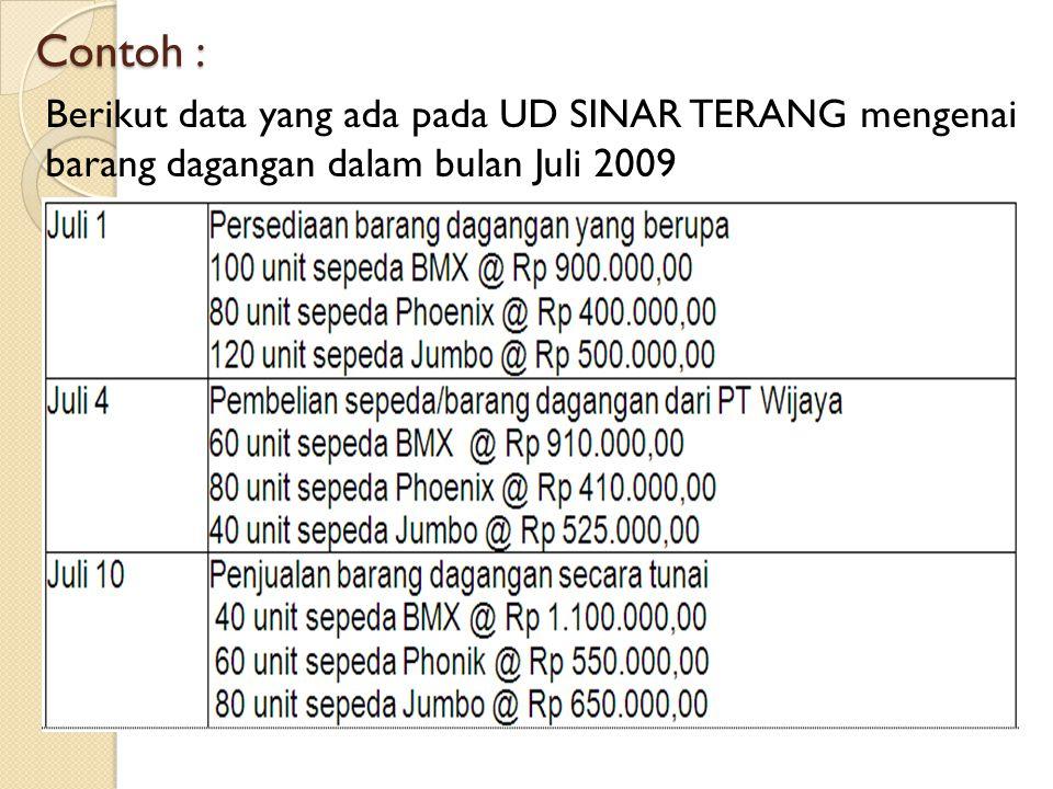 Contoh : Berikut data yang ada pada UD SINAR TERANG mengenai barang dagangan dalam bulan Juli 2009
