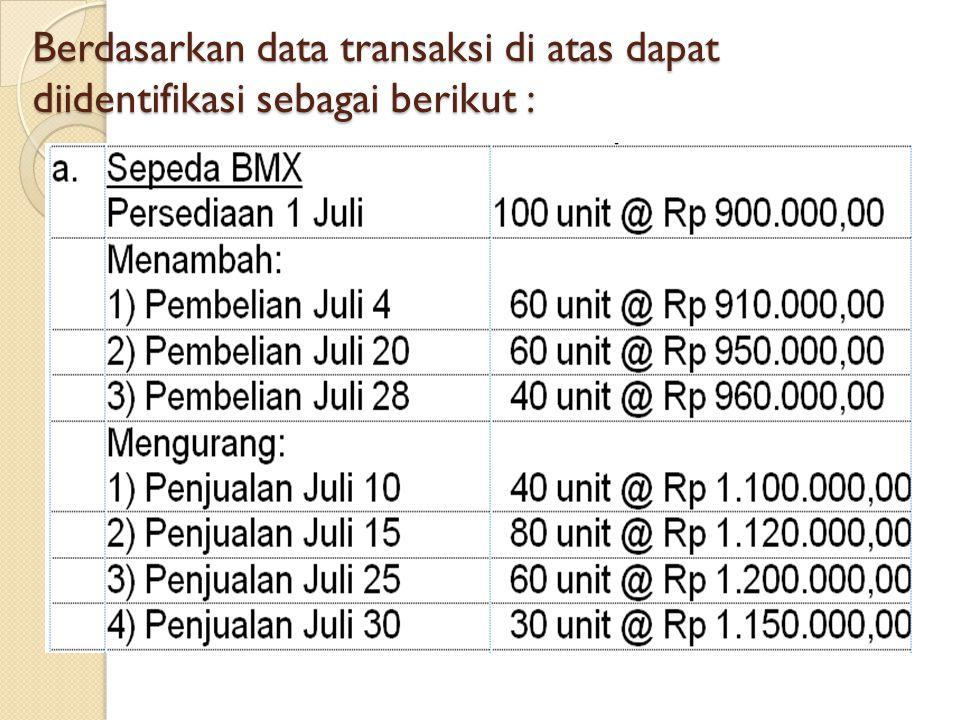 Berdasarkan data transaksi di atas dapat diidentifikasi sebagai berikut :