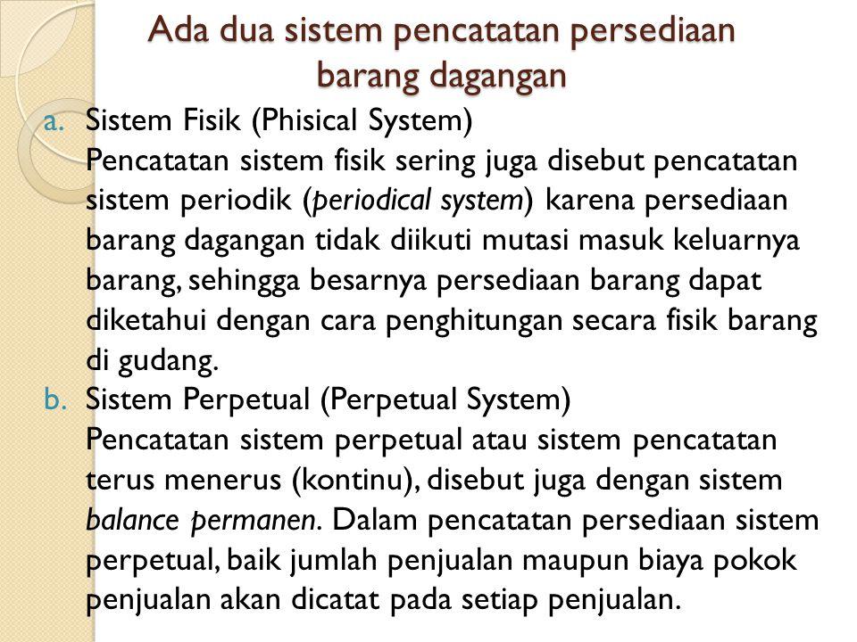 Ada dua sistem pencatatan persediaan barang dagangan