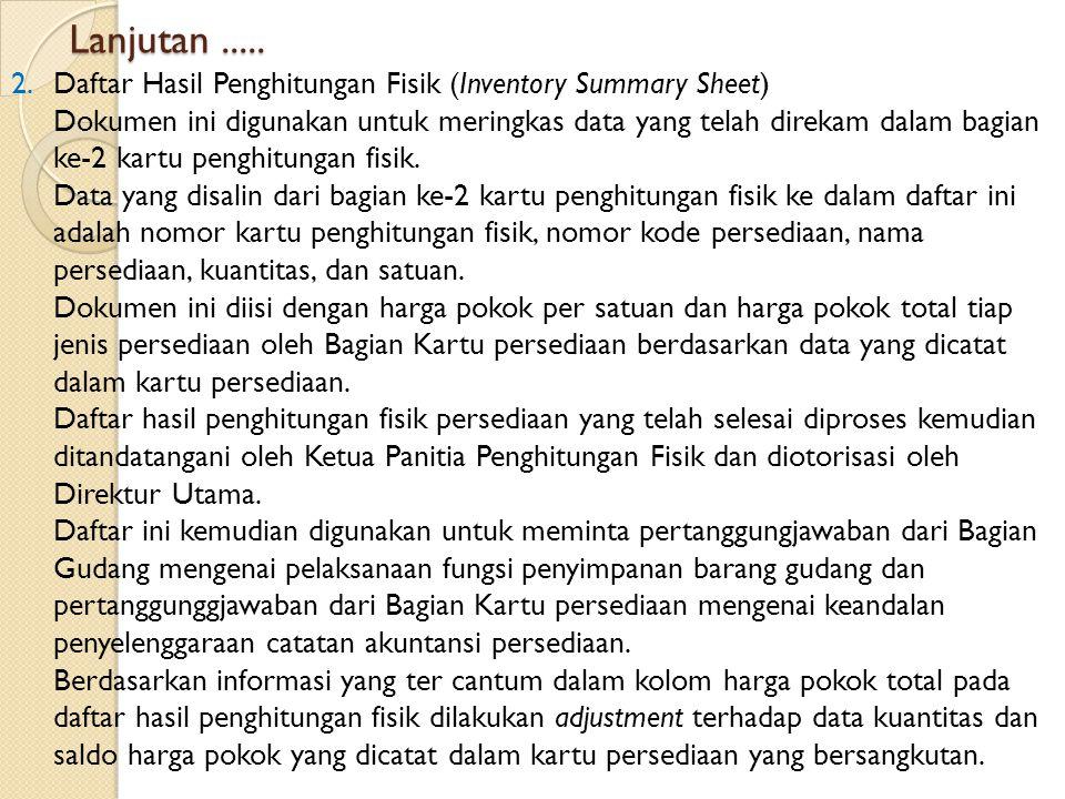 Lanjutan ..... Daftar Hasil Penghitungan Fisik (Inventory Summary Sheet)