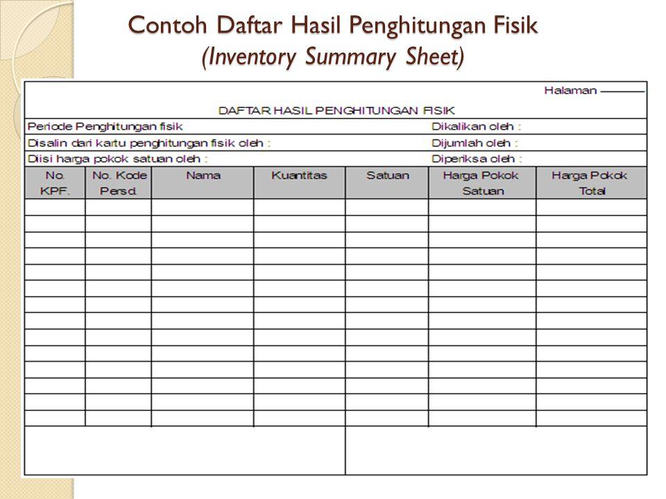 Contoh Daftar Hasil Penghitungan Fisik (Inventory Summary Sheet)