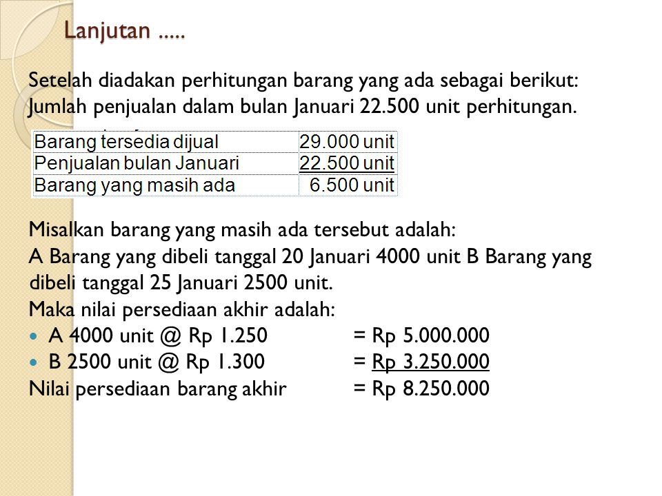 Lanjutan ..... Setelah diadakan perhitungan barang yang ada sebagai berikut: Jumlah penjualan dalam bulan Januari 22.500 unit perhitungan.