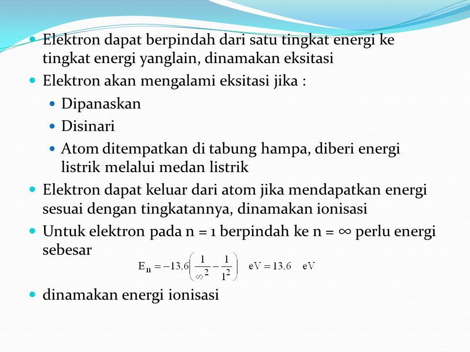 Elektron dapat berpindah dari satu tingkat energi ke tingkat energi yanglain, dinamakan eksitasi