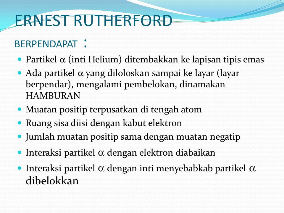 ERNEST RUTHERFORD BERPENDAPAT :