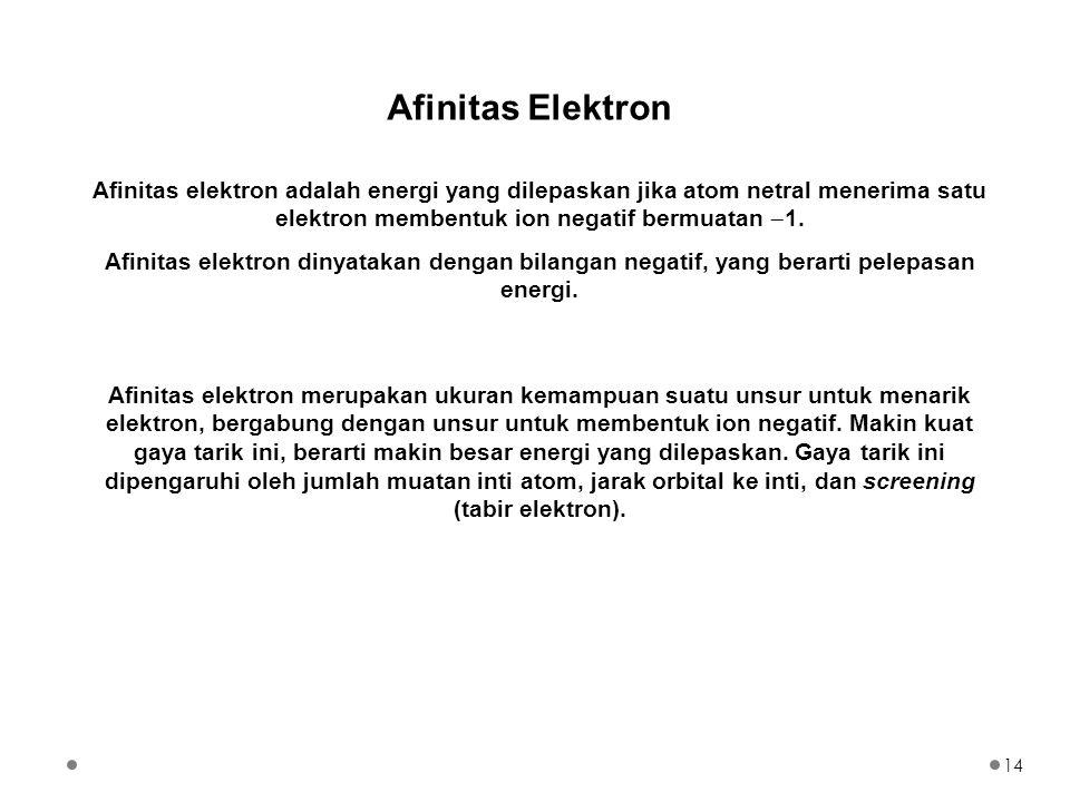 Afinitas Elektron Afinitas elektron adalah energi yang dilepaskan jika atom netral menerima satu elektron membentuk ion negatif bermuatan 1.