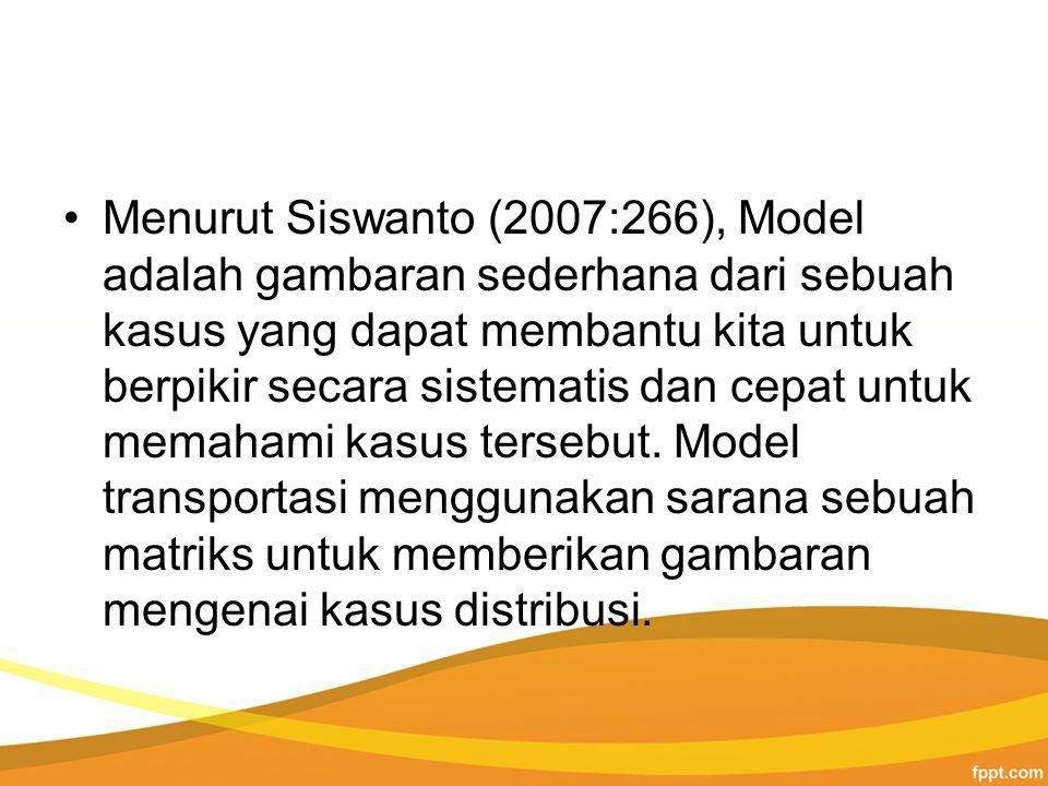 Menurut Siswanto (2007:266), Model adalah gambaran sederhana dari sebuah kasus yang dapat membantu kita untuk berpikir secara sistematis dan cepat untuk memahami kasus tersebut.