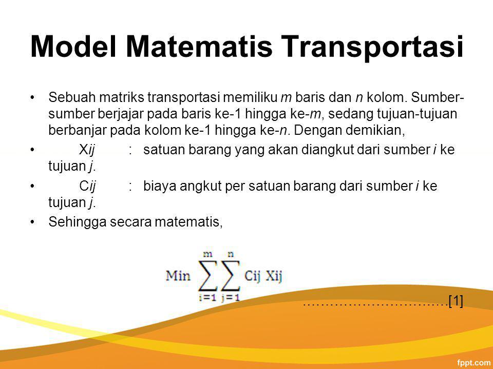 Model Matematis Transportasi