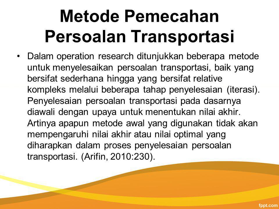 Metode Pemecahan Persoalan Transportasi