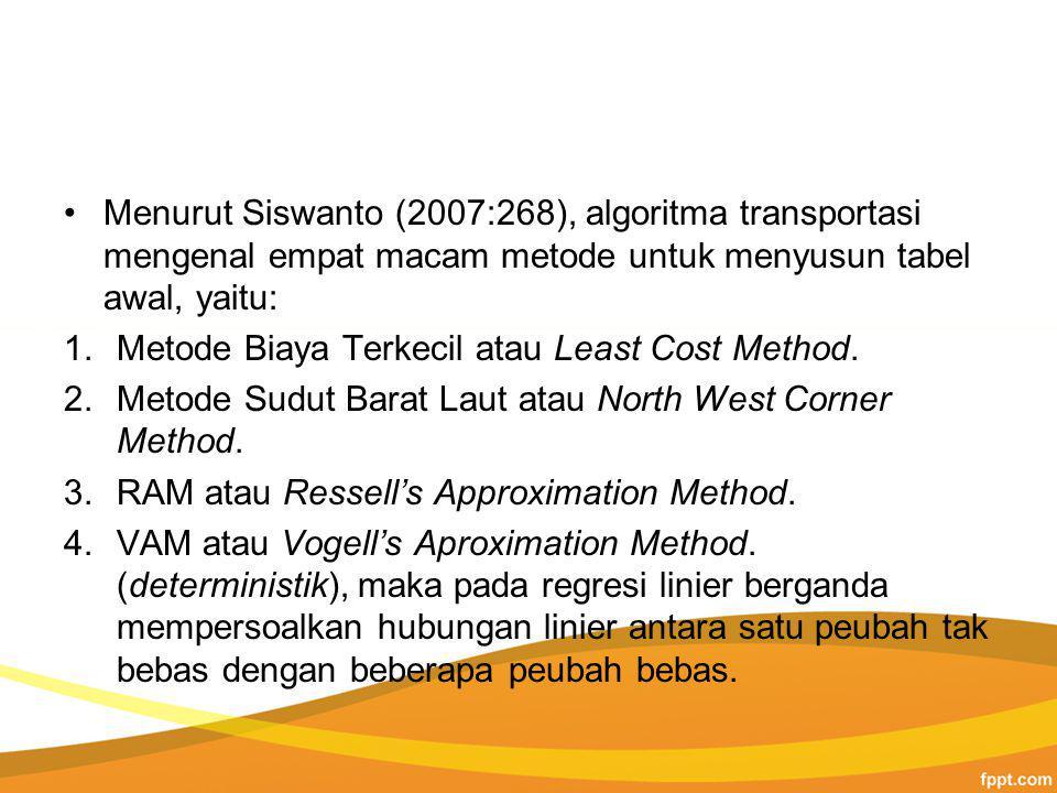 Menurut Siswanto (2007:268), algoritma transportasi mengenal empat macam metode untuk menyusun tabel awal, yaitu: