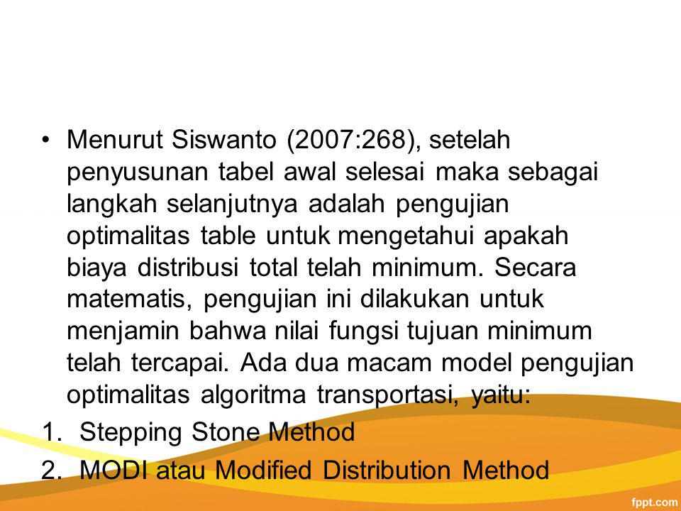 Menurut Siswanto (2007:268), setelah penyusunan tabel awal selesai maka sebagai langkah selanjutnya adalah pengujian optimalitas table untuk mengetahui apakah biaya distribusi total telah minimum. Secara matematis, pengujian ini dilakukan untuk menjamin bahwa nilai fungsi tujuan minimum telah tercapai. Ada dua macam model pengujian optimalitas algoritma transportasi, yaitu: