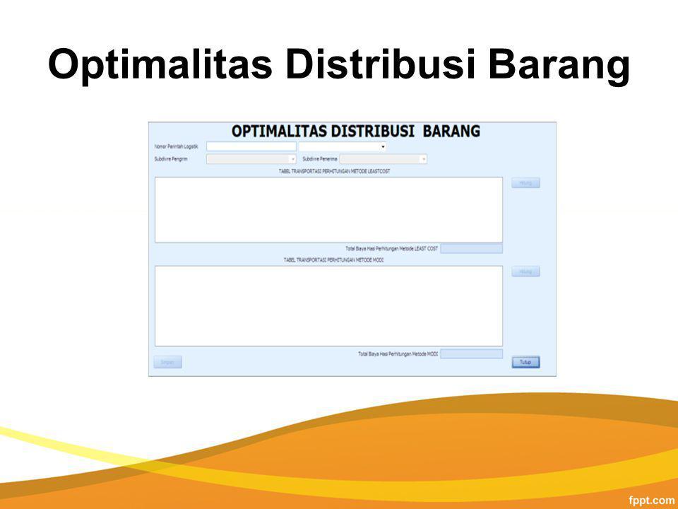 Optimalitas Distribusi Barang
