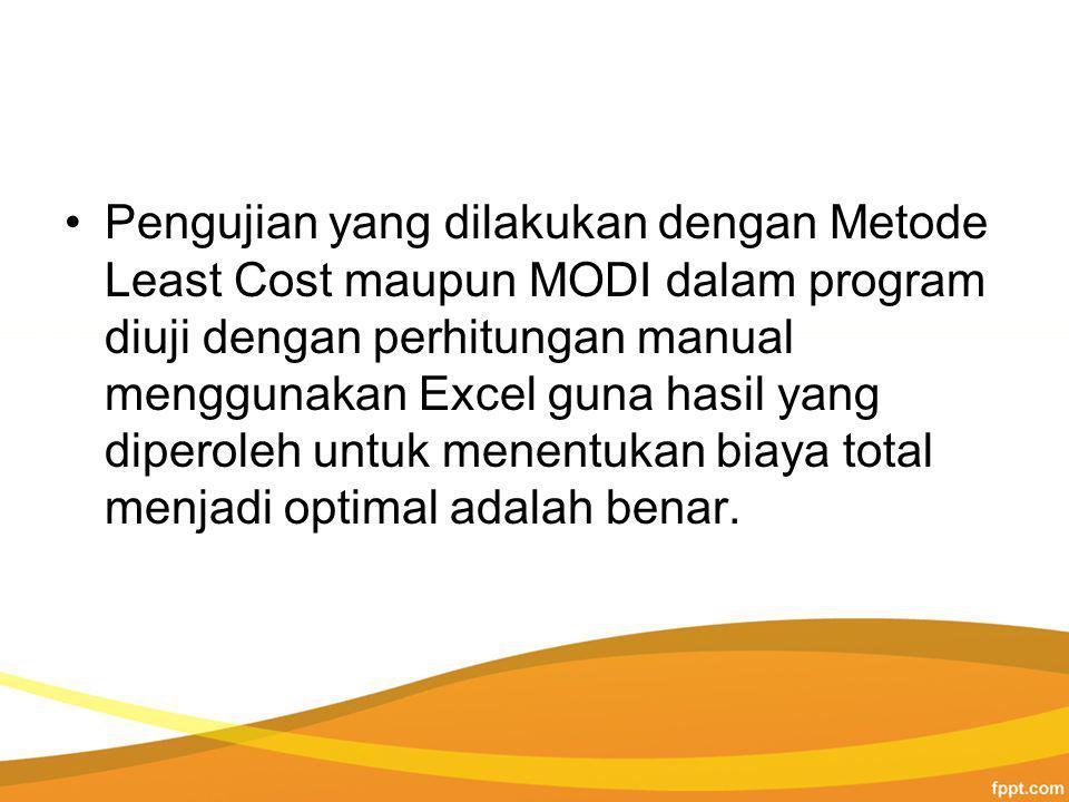 Pengujian yang dilakukan dengan Metode Least Cost maupun MODI dalam program diuji dengan perhitungan manual menggunakan Excel guna hasil yang diperoleh untuk menentukan biaya total menjadi optimal adalah benar.