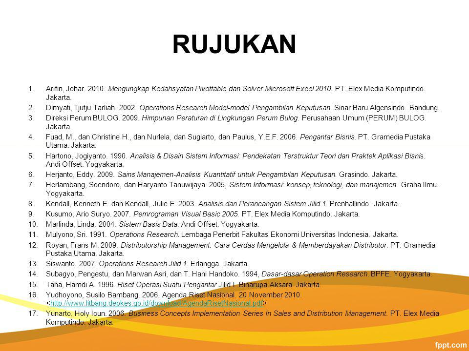 RUJUKAN Arifin, Johar. 2010. Mengungkap Kedahsyatan Pivottable dan Solver Microsoft Excel 2010. PT. Elex Media Komputindo. Jakarta.