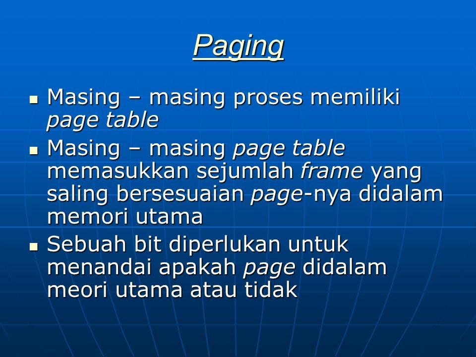 Paging Masing – masing proses memiliki page table