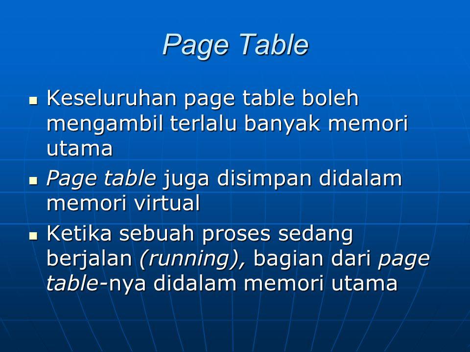 Page Table Keseluruhan page table boleh mengambil terlalu banyak memori utama. Page table juga disimpan didalam memori virtual.